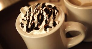 Hot chocolate with whipped cream Stock Photos