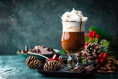 Hot chocolate with whipped cream with Christmas decorations Stock Image