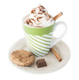 Hot chocolate, whipped cream, cinnamon Royalty Free Stock Images