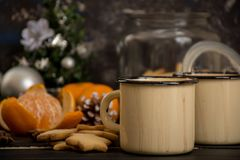 Hot chocolate with whipped cream. Cinnamon and some snack, cookies and mandarins Stock Images