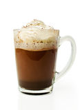 Hot chocolate with whipped cream in a glass bowl Stock Image