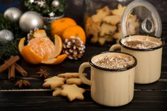 Hot chocolate with whipped cream. Cinnamon and some snack, cookies and mandarins Stock Photography
