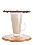 Hot chocolate with whipped cream in a mug, isolated on white. Cocoa with chocolate stick for dessert. Stock Photo