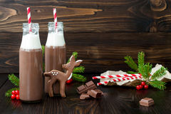 Hot chocolate with whipped cream in old-fashioned retro bottles with red striped straws. Christmas holiday drink and gingerbread. Baby deer or fawn cookies Stock Photography