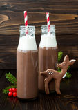 Hot chocolate with whipped cream in old-fashioned retro bottles with red striped straws. Christmas holiday drink and gingerbread b Stock Images