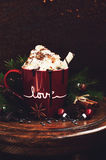 Hot chocolate with whipped cream topped with cinnamon and cocoa Royalty Free Stock Image