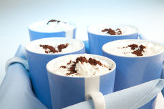 Hot chocolate with whippet cream Stock Images