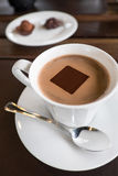 Hot chocolate in white cup Royalty Free Stock Photography