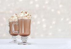 Hot chocolate - winter background. Hot chocolate - snowy winter background Royalty Free Stock Photography