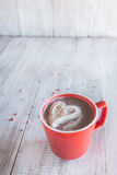 Hot Chocolate Winter Beverage with Whipped Cream Heart Royalty Free Stock Image