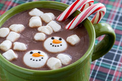 Hot Chocolate With Candy And Cookies Stock Photos