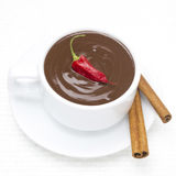 Hot Chocolate With Cinnamon And Chili, Top View Stock Image