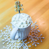 Hot Chocolate With Marshmallows And Cute Tea Spoon Royalty Free Stock Photo