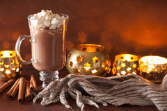 Free Hot Chocolate With Mini Marshmallows Cinnamon Winter Drink Candl Stock Images - 79477784