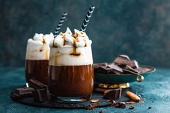 Free Hot Chocolate With Whipped Cream. Chocolate Dessert Drink In Glass Stock Photography - 126766052