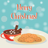 Hot chokolate cup and cookies Royalty Free Stock Photo
