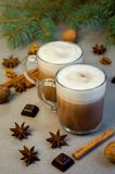 Hot Christmas Drink Cocoa Coffee or Chocolate with Milk in a Small Cup. Fir Tree Branch, Nuts, Cinnamon Sticks Star Anise Stock Images