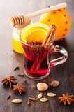 Hot Christmas drink (mulled wine) with spices Stock Photos