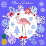 Hot Christmas tropical holiday. Flamingo, palm leaves and snowflakes. Template for cards and party invitations Stock Photography