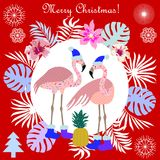 Hot Christmas tropical holiday. Flamingo, palm leaves and snowflakes. Template for cards and party invitations Stock Image