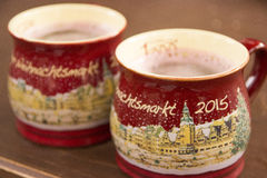 Hot christmas wine in a cup in Germany, Leipzig royalty free stock image