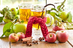 Hot cider with spices Stock Photo