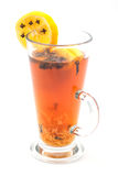 Hot citrus drink with alcohol and orange slices and spices, winter drink, product photography for restaurant or cafe Stock Image