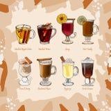 Hot classic cocktails set illustration. Alcoholic warm bar drink hand drawn vector collection. Pop art menu image items stock illustration