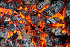 Hot coal. Close-up photo of a hot coal royalty free stock photography