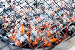 Hot coal at barbecue stove. For gill royalty free stock photos