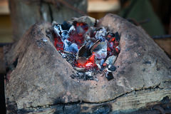 Hot coals from a blacksmith in the workshop Royalty Free Stock Photography
