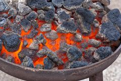 Hot coals close-up Stock Image