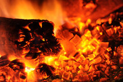 Hot coals and fire Stock Photo