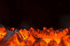 Hot coals. In the fire Royalty Free Stock Photo
