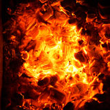 Hot coals in the fire. Stock Images