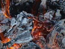 Hot coals in an outdoor fireplace. South Bohemia Stock Photography