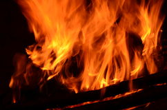 Hot coals in an outdoor fireplace Stock Photo
