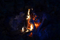 Hot coals in an outdoor fireplace Royalty Free Stock Images