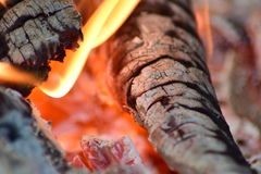 Hot coals in the stove Royalty Free Stock Photos