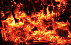 Hot coals texture. background from a fire Royalty Free Stock Photo