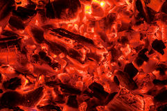 Hot coals texture. Hot red coals as a texture Royalty Free Stock Photography