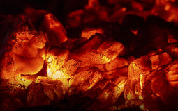 Hot coals. The hot coals of the wood in the fireplace Stock Photography