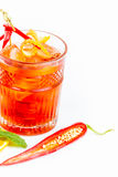 Hot cocktail with pepper and alcohol Stock Photos