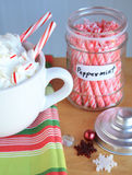Hot coco Mocca with peppermint sticks jar and snow flakes Royalty Free Stock Photos