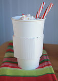 Hot coco Mocca with peppermint sticks Stock Photography