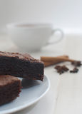 Hot cocoa with brownies Royalty Free Stock Photography
