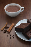 Hot cocoa with brownies Royalty Free Stock Image