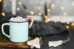 Hot Cocoa Candy Canes and Marshmallows Stock Image