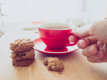Hot cocoa and chocolate chips cookies. Stock Image