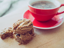 Hot cocoa and chocolate chips cookies. Stock Photography